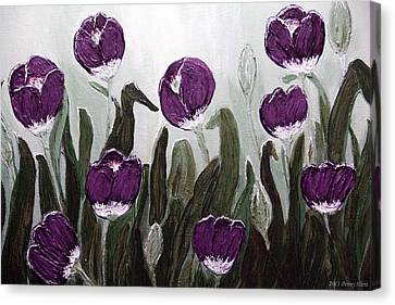 Tulip Festival Art Print Purple Tulips From Original Abstract By Penny Hunt Canvas Print by Penny Hunt