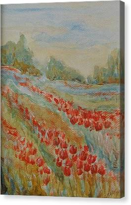 Canvas Print featuring the painting Tulip Field by Jane  See