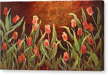 Canvas Print featuring the painting Tulip Garden by Vic  Mastis