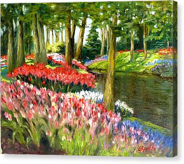 Canvas Print featuring the painting Tulip Gardens by Lori Ippolito