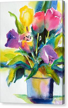 Canvas Print featuring the painting Tulip Pot by Kathy Braud