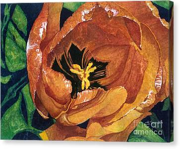 Canvas Print featuring the painting Tulip Swirl by Barbara Jewell