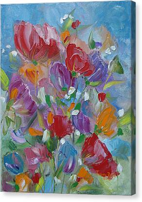 Canvas Print featuring the painting Tulip Symphony by Judith Rhue