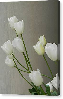 Canvas Print featuring the photograph Tulips Against Pillar by Jean Goodwin Brooks