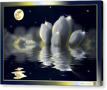 Tulips And Moon Reflection Canvas Print by Peter v Quenter