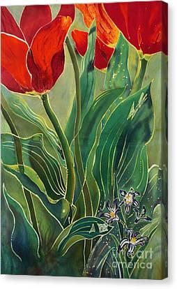 Tulips And Pushkinia Canvas Print by Anna Lisa Yoder