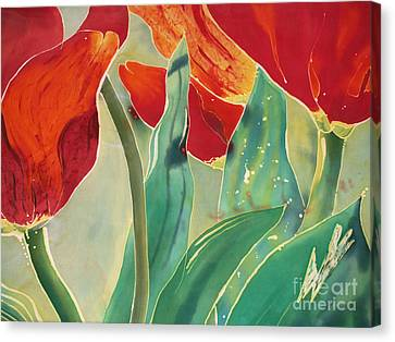Tulips And Pushkinia Upper Detail Canvas Print