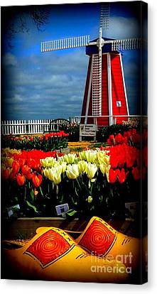 Tulips And Windmill Canvas Print by Susan Garren