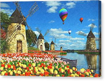 Tulips And Windmills Canvas Print