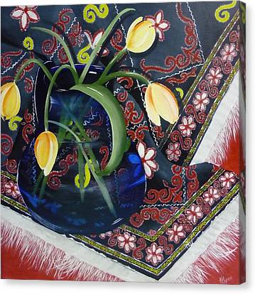 Canvas Print featuring the painting Tulips by Helen Syron