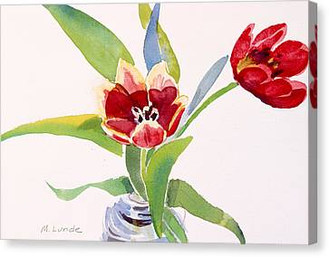 Tulips In A Can Canvas Print