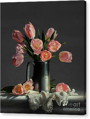 Pink Tulip Canvas Print - Tulips In A Pewter Mug by Larry Preston