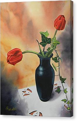 Tulips In Black Vase Canvas Print by Adel Nemeth