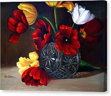 Tulips In Crystal Canvas Print by Karen Mattson