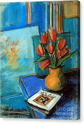 Tulips In The Mirror Canvas Print by Mona Edulesco