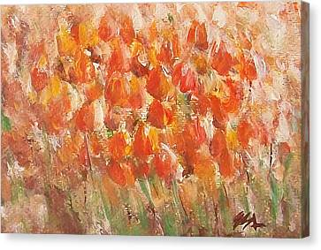 Canvas Print featuring the painting Tulips by Jane  See