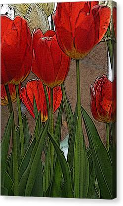 Canvas Print featuring the digital art Tulips by John Freidenberg