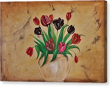 Tulips Of Tuscany 57x41 Canvas Print by Cindy Micklos