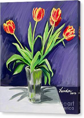 Tulips On The Table Canvas Print
