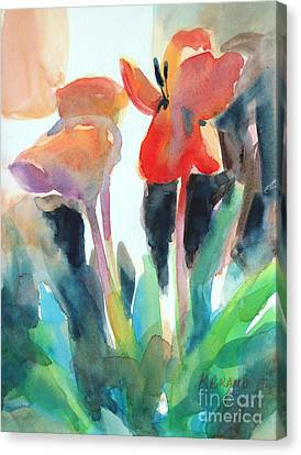 Canvas Print featuring the painting Tulips Together by Kathy Braud