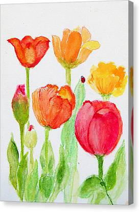 Tulips With Lady Bug Canvas Print by Ashleigh Dyan Bayer