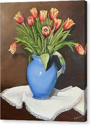 Tullips In Parrot Pitcher Canvas Print by Sandra Nardone