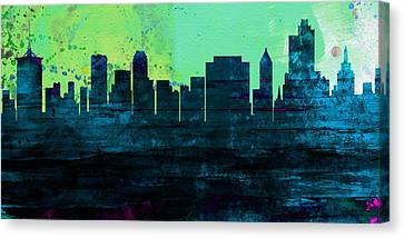 Downtown Canvas Print - Tulsa City Skyline by Naxart Studio