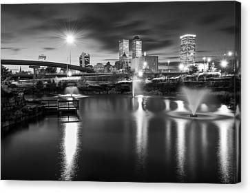 Tulsa Lights - Centennial Park View Black And White Canvas Print