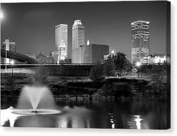 Tulsa Oklahoma Skyline Black And White Canvas Print