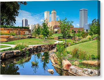 Tulsa Oklahoma Skyline View From Central Centennial Park Canvas Print by Gregory Ballos