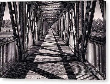 Tulsa Pedestrian Bridge In Black And White Canvas Print by Tamyra Ayles