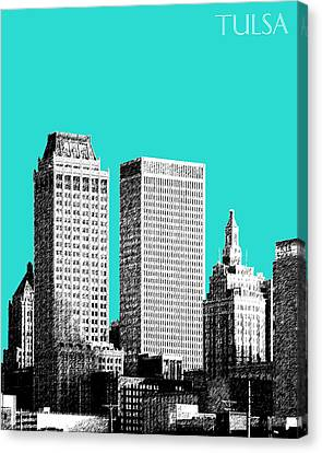 Tulsa Skyline - Aqua Canvas Print