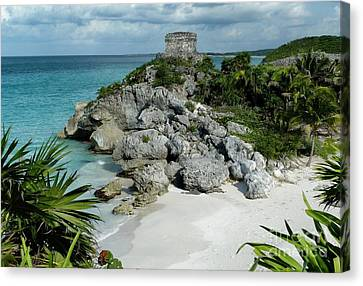 Canvas Print featuring the photograph Tulum Ruins In Mexico by Polly Peacock