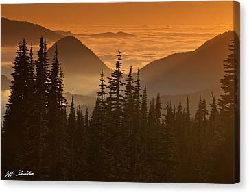 Canvas Print featuring the photograph Tumtum Peak At Sunset by Jeff Goulden