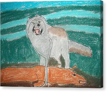 Tundra Wolf Pastel On Paper Canvas Print by William Sahir House
