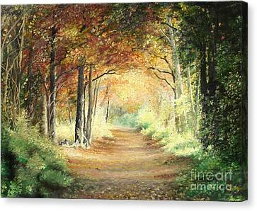 Canvas Print featuring the painting Tunnel In Wood by Sorin Apostolescu