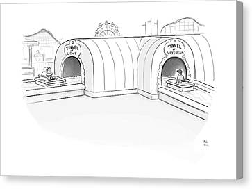 Tunnel Of Love Ride Intersects With A Tunnel Canvas Print by Paul Noth