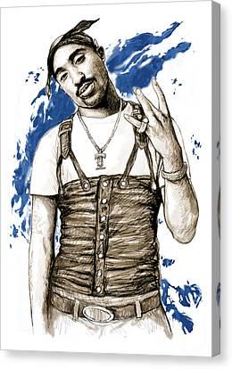 Tupac Shakur Colour Drawing Art Poster Canvas Print by Kim Wang