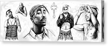 Tupac Shakur Long Drawing Art Poster Canvas Print by Kim Wang