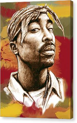 Making Canvas Print - Tupac Shakur Stylised Drawing Art Poster by Kim Wang