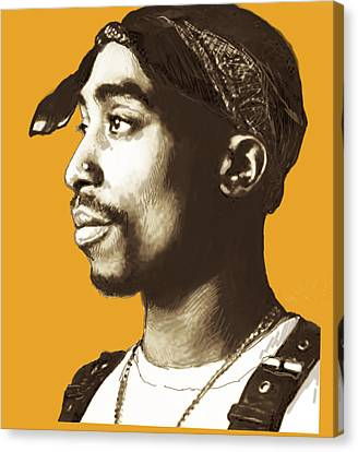 Tupac Shakur Stylised Pop Art Poster Canvas Print by Kim Wang