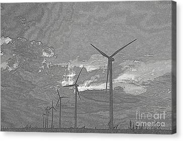 Canvas Print featuring the photograph Turbines In Pencil by Jim McCain