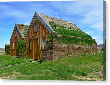 Turf Houses At Modrudalur Canvas Print