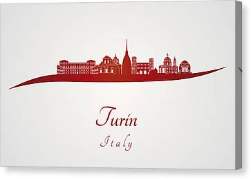Turin Canvas Print - Turin Skyline In Red by Pablo Romero