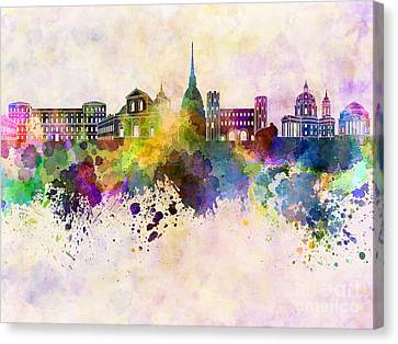 Turin Canvas Print - Turin Skyline In Watercolor Background by Pablo Romero