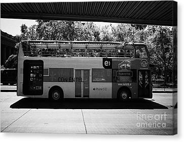 turistik open top city bus tours of Santiago Chile Canvas Print by Joe Fox