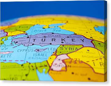 Turkey - Antique  Globe Map Travel Background Canvas Print by Donald  Erickson