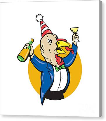 Wildlife Celebration Canvas Print - Turkey Celebrating Wine Party Hat Cartoon by Aloysius Patrimonio