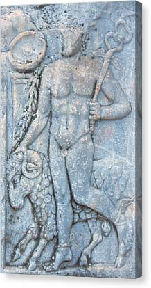 Turkey, Ephesus A Roman Carving Depicts Canvas Print by Jaynes Gallery