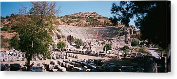 Turkey, Ephesus, Main Theater Ruins Canvas Print